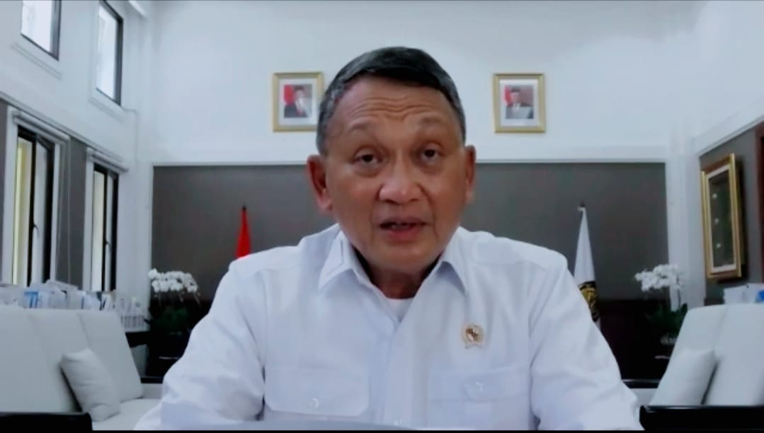 Screenshot video Zoom Menteri ESDM Arifin Tasrif